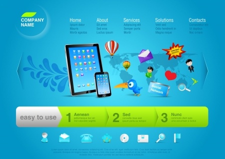 Touch pad   smartphone with flying logo and sign from em  Website template for business promo, product, service, internet, new multiuse device etc  Editable