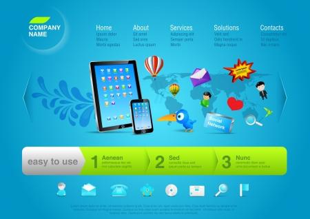Touchpad smartphone met vlag en logo en ondertekenen van em Website template voor bedrijven promo, product, dienst, internet, nieuwe Multi-use apparaat etc Bewerkbare