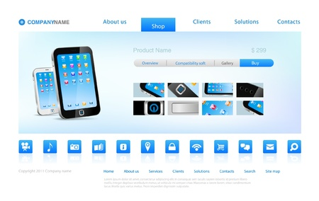 website buttons: Smartphone touch technology online store or Promo page  Illustration