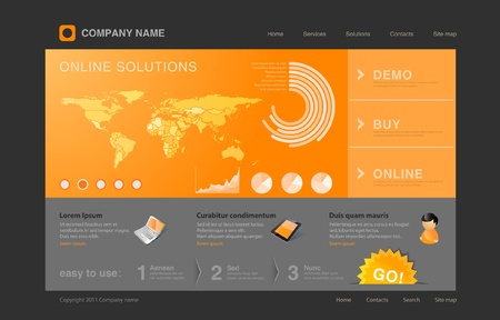 webpage: Website template  Infographics World map with graph and diagrams on orange background Illustration