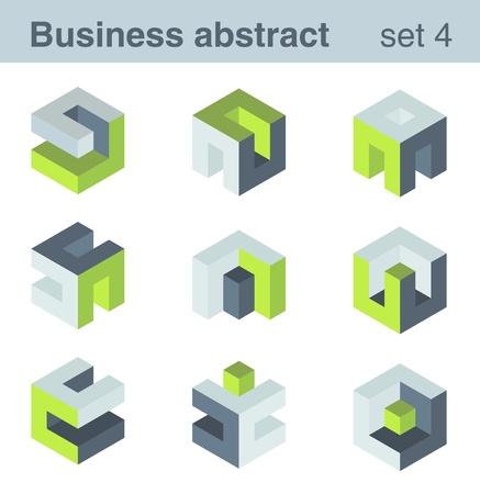 logotipo abstracto: Conjunto LOGO rompecabezas de la l�gica para cualquier tipo de empresa