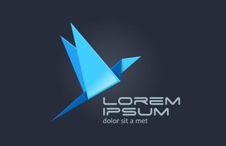 ロゴの鳥折り紙の抽象的なアイコン。