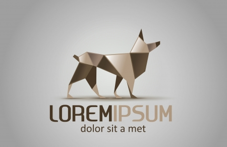 Logo Abstract. Origami Dog. Ilustracja