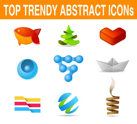 TOP TRENDY ABSTRACT ICONs: trendy LOGO set Vector