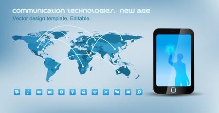 công nghệ: Bản đồ thế giới chính trị với các đường thông tin liên lạc. Màn hình cảm ứng công nghệ điện thoại thông minh. Thiết kế mẫu.
