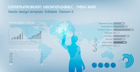 technology: Virtual Girl operating Globe. World map on the background. Future technology concept. Design template.