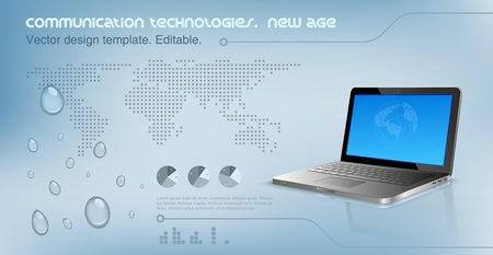 Laptop on the glossy hi-tech background. Logo copyspace.  World map on the background. Future technology concept. Design template. Vector
