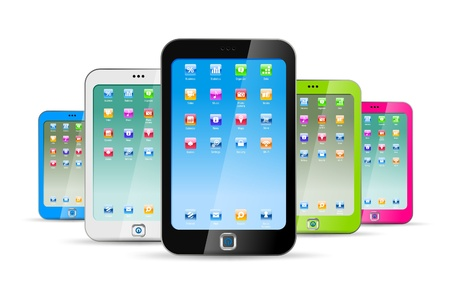 touchphone: Smartphones on white background. Colorful modern abstract touchphones Illustration