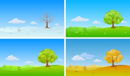 Achtergrond Natuur. Vier seizoenen. Eenzame boom in de winter, lente, zomer, herfst.