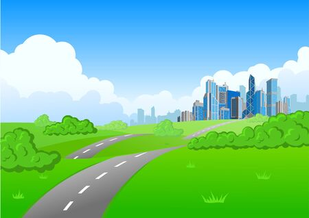 countryside landscape: Cityscape Background. Skyscrapers city on the horizont.
