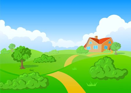 serie: House on green meadow. Green grass serie. Illustration