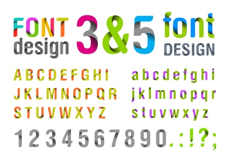 Font design. Ribbon Alphabet