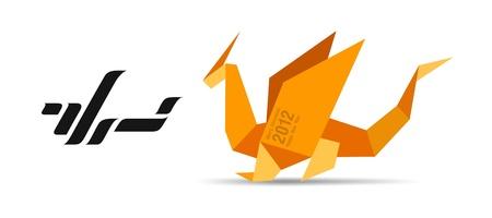 dragon: Dragon origami concept Logo