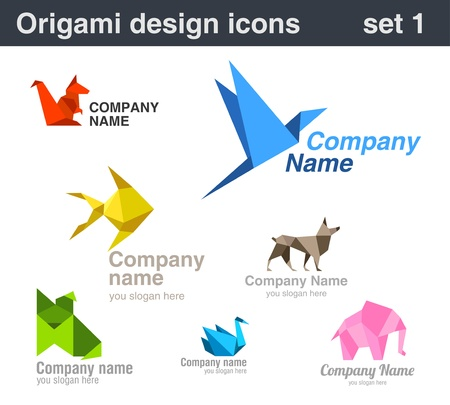 Logo set. Origami collection. For any company. Vector