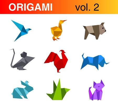 Logo set. Origami vector collection #2