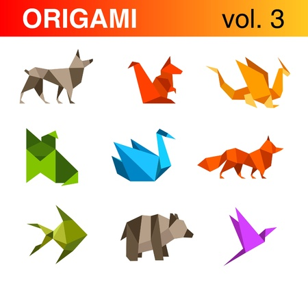 origami bird: Logo set. Origami collection #3.
