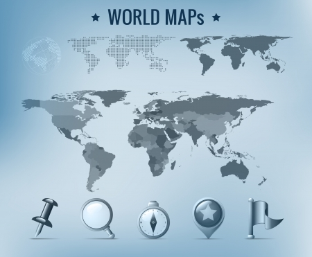 World map vector: political, dotted, solid. Navigation Icon pack. Vector