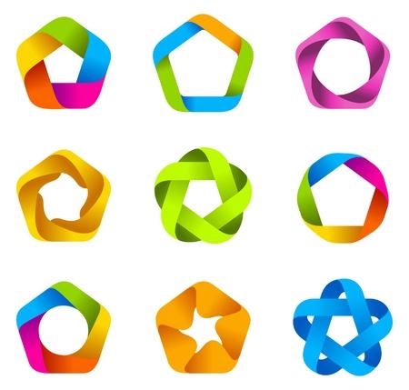LOGO set. Infinity shape. 5point star.