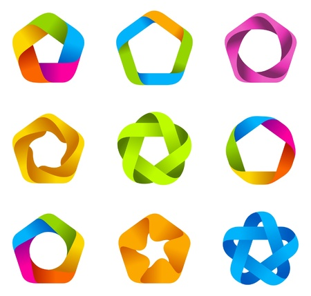 LOGO set. Infinity shape. 5point star.  Vector