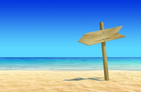 Empty wooden signpost on idyllic tropical sand beach to place your logo, product or text  Clean, extremely detailed 3d render  Concept for rest, holidays, resort, spa design or background Stock Photo - 14014065
