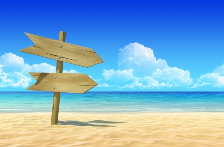 extremely: Empty wooden double signpost to place your logo, product or text  on idyllic tropical sand beach  Clean, extremely detailed 3d render  Concept for rest, holidays, resort, spa background