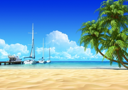 Marina pier and palms on empty idyllic tropical sand beach  No noise, clean, extremely detailed 3d render  Concept for rest, yachting, holidays, resort, spa design or background Stock Photo - 14014066