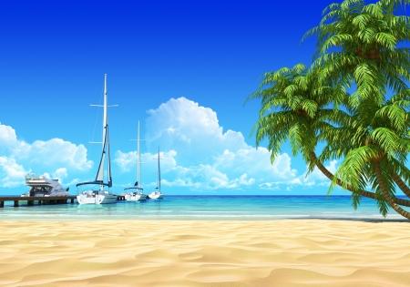 Marina pier en palmen op lege idyllische tropische zandstrand Geen lawaai, schoon, zeer gedetailleerde 3D render Concept voor rust, zeilen, vakantie, strand, spa ontwerp of achtergrond
