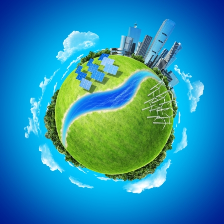 Mini planet concept  City, ocean, forest, wind turbines, solar batteries, river and fresh green field  Earth collection  photo