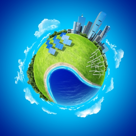 consumption: Mini planet concept  City, ocean, forest, wind turbines, solar batteries, sea coast and fresh green field  Earth collection  Stock Photo