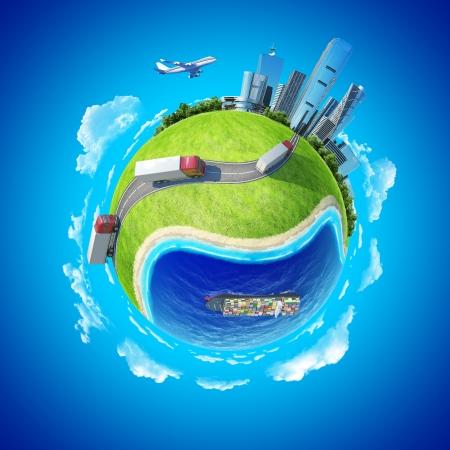 Mini planeet concept van vrachtwagens op de snelweg richting de stad op de horizon, grote vrachtschip in de oceaan Levering, transport expeditie concept van de Aarde collectie