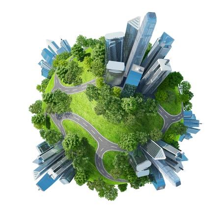 Conceptuele mini-planeet groene parken, samen met wolkenkrabbers en wegen Kalmte in de stad chaos Een van Geïsoleerd een reeks