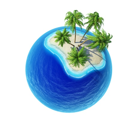 Tropical island with palms and empty ocean isolated  Mini planet concept  Travel and business concept  Earth collection Stock Photo - 14014050