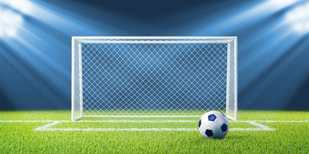 soccer ball on grass: Football  soccer  goals and ball on clean empty green field  Concept for team, championship, league, competition poster   website design  One from collection