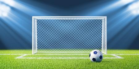 soccerfield: Voetbal voetbal goals en bal op schone lege groene veld Concept voor team, kampioenschap, competitie, concurrentie poster website design Een uit de collectie