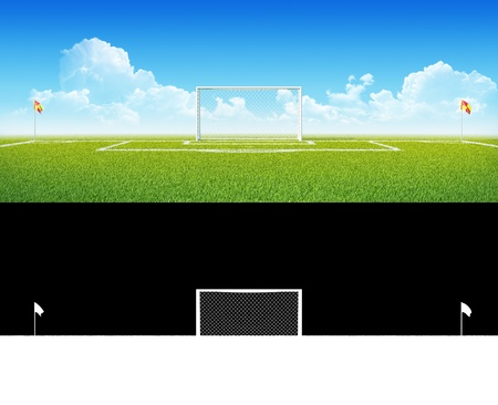 Football  soccer  goals on clean empty green field  Alpha blending layer included  Concept for team, championship, league poster   website design  One from collection  photo