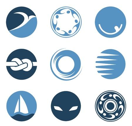 抽象的なロゴを設定します。ビジネスの円のアイコン。コーポレート、ビンテージ、カフェ、メディア スタイル。
