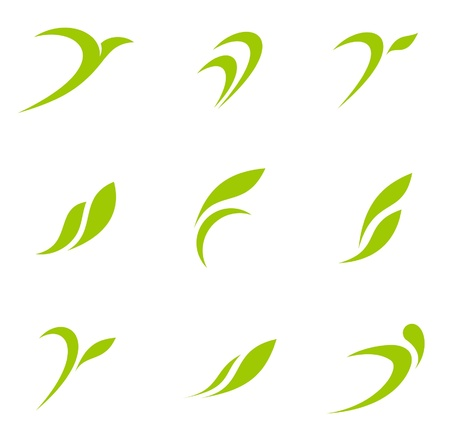 flying leaves: Logo Eco. Ecology icons. Health, Spa, Nature themes.