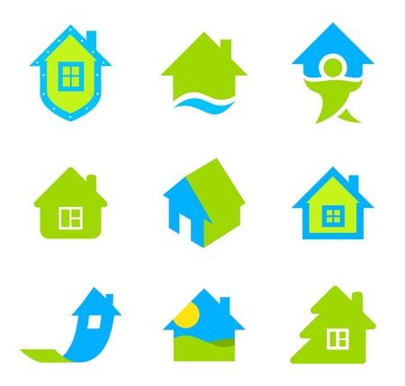 house logo: Logo Realty. House icon set. Eco theme. Green life,