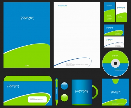 brand identity: Corporate Identity template. Place your Logo. Business theme. Editable.