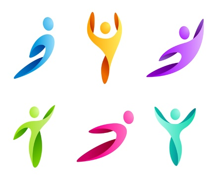 Logo Business Abstract. Sport man icon set. Flying, rushing activity. Vector. Çizim