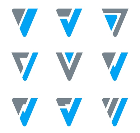 Logo Abstract Business icon set. V, W, Triangle shapes.