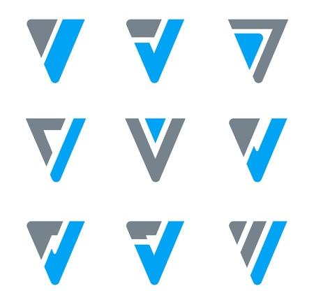 삼각형: 로고 추상 비즈니스 아이콘을 설정합니다. V, W, 삼각형 모양. 일러스트