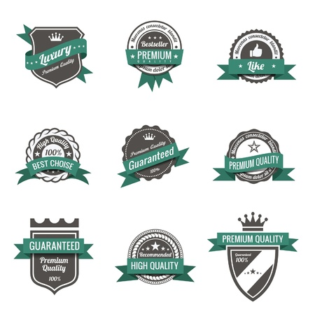 badge shield: Vintage Labels set. Trendy design. High quality.