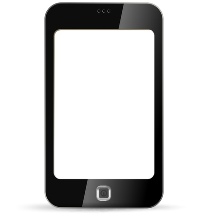 mobile application: Smartphone on white background. Isolated PDA.  Application Copyspace. Vector. Editable.