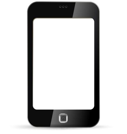 Smartphone sur fond blanc. PDA isolé. Copyspace demande. Vecteur. Modifiable. Banque d'images - 14095941