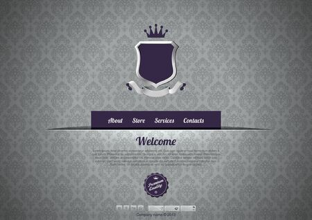 Luxury Website template. Logo copyspace. Vintage design. Retro pattern background design. Editable. Çizim
