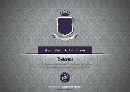 web icons: Luxury Website template. Logo copyspace. Vintage design. Retro pattern background design. Editable. Illustration