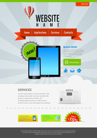 Pad & Mobile applications. Website template Retro style. Vector