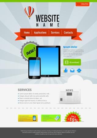 Pad & Mobiele toepassingen. Website template Retro stijl. Stock Illustratie