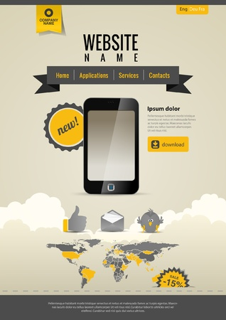 smartphone: Mobile applications. Website template Retro style. Yellow Black.